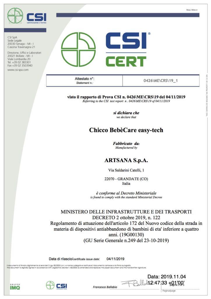 Certificato di Conformità del dispositivo anti abbandono Chicco Easy Tech